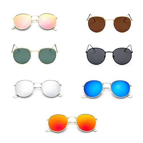 Gran Lentes ONEVER Tama de la Ojo Mujeres Gafas Sol Forme a de retras del de Verde para Eyewear Ronda de o Hombre 7f7vqOW