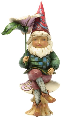 Jim Shore for Enesco Heartwood Creek Gnome on Mushroom Figurine, 6-Inch
