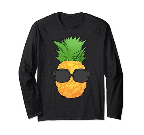 Unisex hawaiian pineapple long sleeve t shirt wearing sunglasses Small - Hawaiian Sunglasses