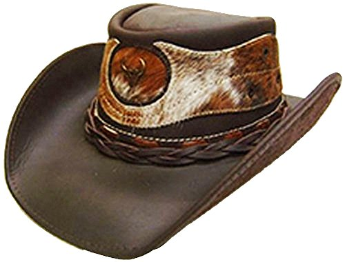 15242b5715ca1 Modestone Unisex Leather Cowboy Hat Hair On Cowhide Applique Brown
