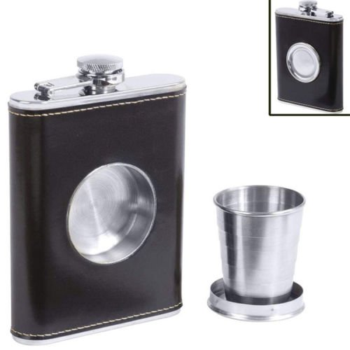 Generic YC-US2-160411-202 <8&34411> Liquorn Collapsib Collapsible Shot Black Wrap Alcohol Glass Screw Flask Built-in Cap Pocket Liquor Black Wrap