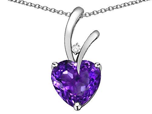 (Star K Heart Shape 8mm Genuine Amethyst Endless Love Pendant Necklace 10 kt White Gold)