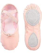 Balletschoenen meisjes balletschoenen canvas dansschoenen gedeelde leren zool voor kleine kinderen vrouwen dames roze (EU 22-35 een maat kleiner kiezen, EU 36-44 een maat groter kiezen)