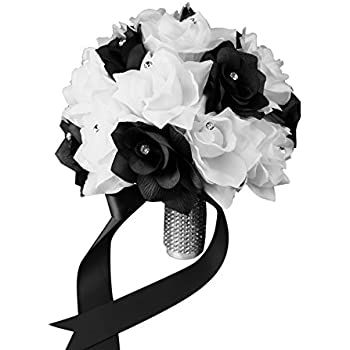 Amazon romantic wedding bride holding bouquet roses with bridal bouquet black white with ribbon and rhinestone silk flower mightylinksfo