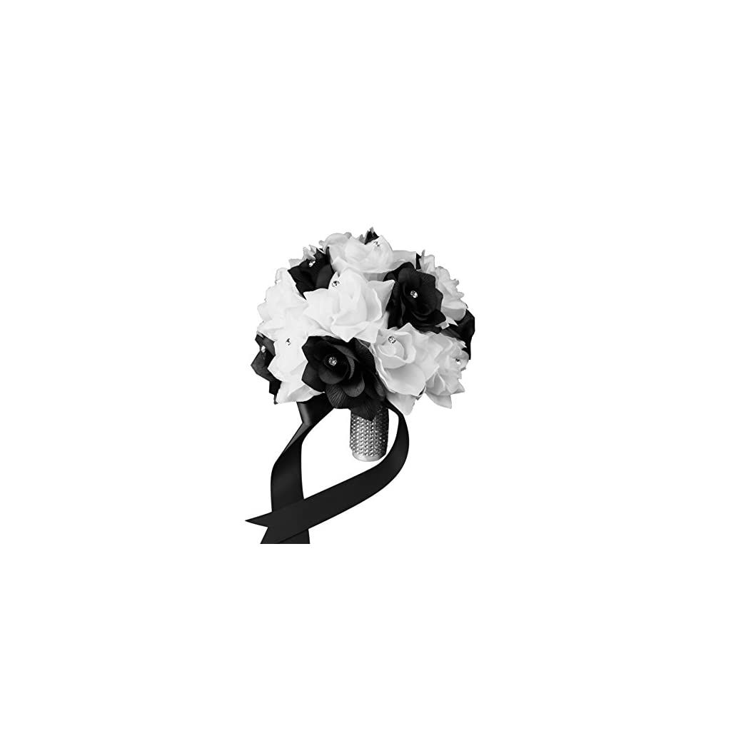 Bridal Bouquet – Black White with Ribbon and Rhinestone – Silk Flower