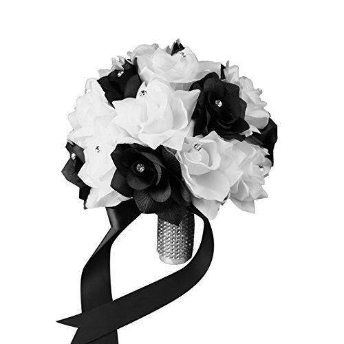 Bridal Bouquet - Black White with Ribbon and Rhinestone - Silk Flower ()