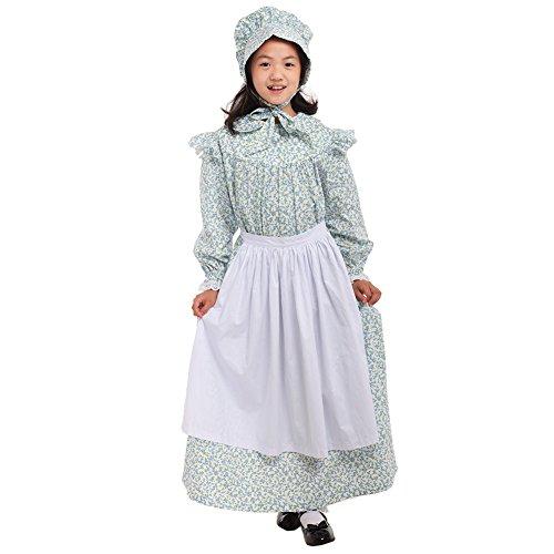 GRACEART Girls' American Pioneer Colonial Costume Prairie Dress 100% Cotton (Light Blue,Size-10)