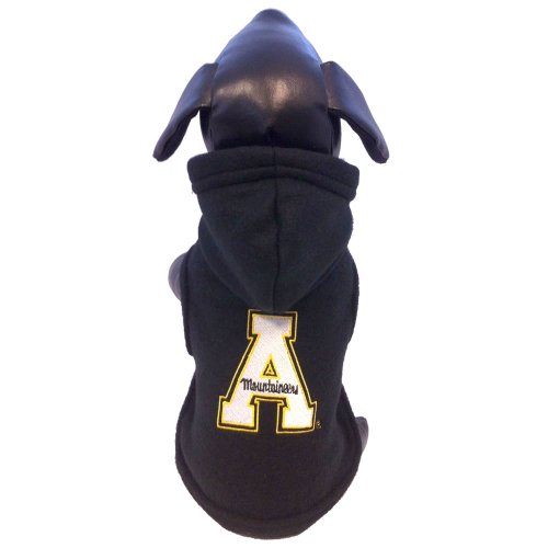 All Star Dogs NCAA Appalachian State Mountaineers Polar Fleece Hooded Dog Jacket, (Appalachian State Fleece)