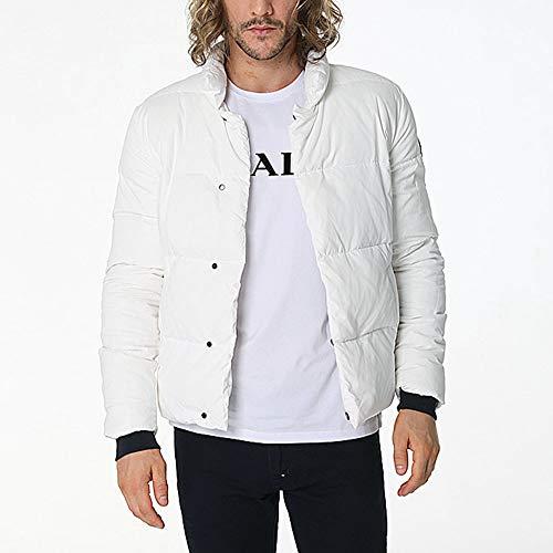 WUYEA Abrigo De Invierno para Hombres Calentar Casual Chaqueta Moda Encapuchado Chaquetas Abajo Ideal En Clima Frío,White,XL