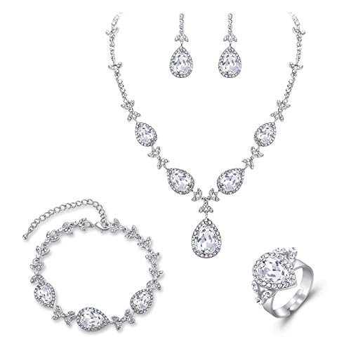Crystal Ring Deco (BriLove Wedding Bridal Necklace Earrings Bracelet Ring Jewelry Set for Women Crystal Floral Leaf Teardrop Y-Necklace Tennis Bracelet Dangle Earrings Resizable Ring Set Clear Silver-Tone)