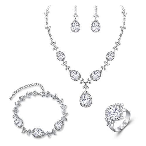 BriLove Wedding Bridal Necklace Earrings Bracelet Ring Jewelry Set for Women Crystal Floral Leaf Teardrop Y-Necklace Tennis Bracelet Dangle Earrings Resizable Ring Set Clear Silver-Tone