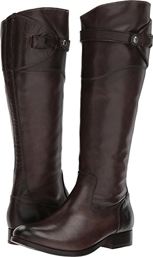 FRYE Women's Molly Button Tall Dark Grey Smooth Vintage Leather 7 B US