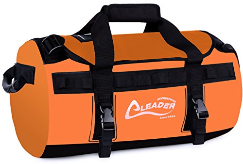 Leader Accessories Deluxe Water Resistant PVC Tarpaulin Duffel Bag Backpack (Orange, 70L) ()