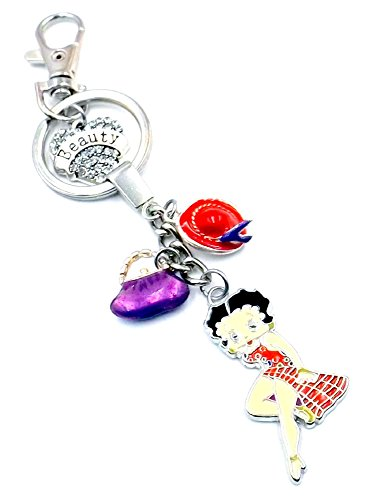 Betty Boop Girl Keychain Purse Bag Charm Pocketbook Red & Purple