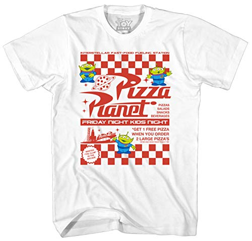 (Disney Toy Story Pizza Planet Flyer Men's Adult Graphic Tee T-Shirt (White,)