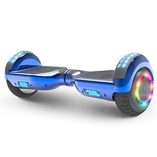 Hoverboard Flash Wheel Two Wheel Self Balancing Electric Scooter With Wireless Speaker 6 5  Ul 2272 Certified  Chrome Blue
