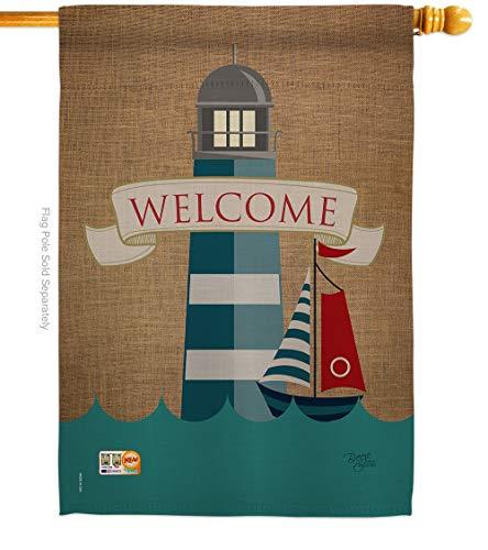 "Breeze Decor - Lighthouse & Sailboat Coastal - Everyday Nautical Impressions Decorative Vertical House Flag 28"" x 40"" Printed In USA"