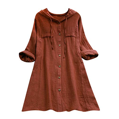 (Aniywn Women Plus Size Cotton Linen Long Sleeve Hoodie Casual Button Long T-Shirt Blouse with Pocket Coffee)