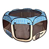 Blue Grid Pet Dog Cat Tent Puppy Playpen Exercise Pen S