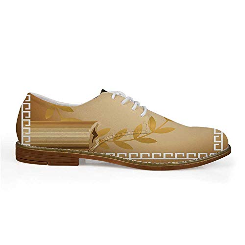 Toga Party Stylish Leather Shoes,Antique Greek Columns Vase Olive Branch Hellenic Heritage Icons for Men,US 12