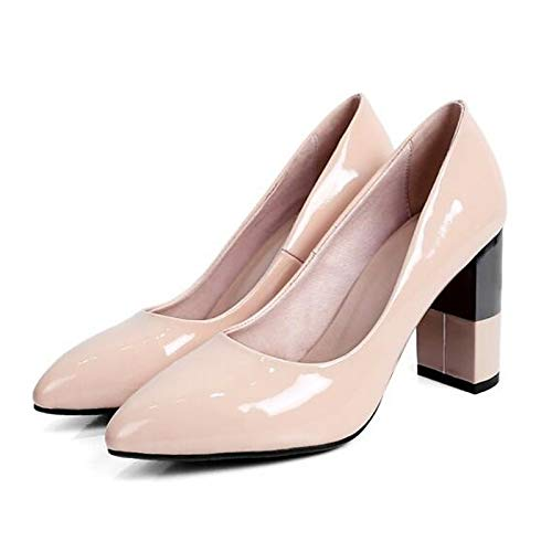 Almond ZHZNVX Chaussures Femme Nappa Leather Spring Escarpins Basic Pump Chunky Heel noir Almond 36 EU