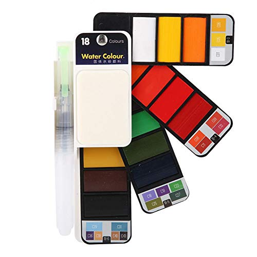 Watercolor Paint Solid 18 25 33 42 Colors Foldable Fan Shaped Pigment Kit with One Sponge and One Watercolor Dip Pen 4 Types(18 Colors)