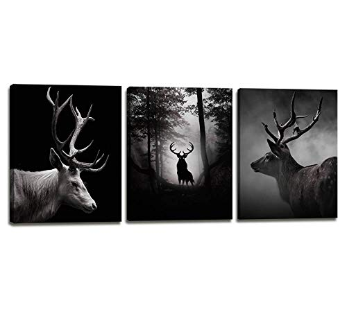 Wall Art for Office Contemporary Simple Life Gray Deer Wall Decor for Bedroom - 3 Panels Black and White Style Animal Picture Canvas Print Framed Artwork for Home Decorations Bathroom Decor Gift