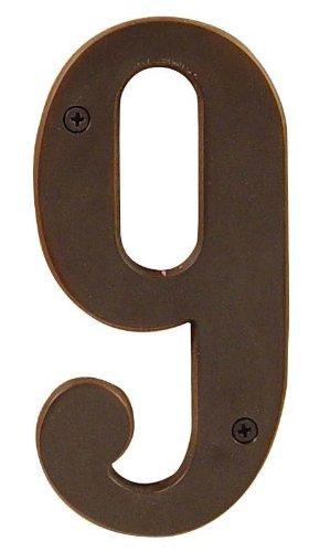 Emtek 2829 6 Inch Height Solid Brass Address Number Nine, Oil Rubbed Bronze