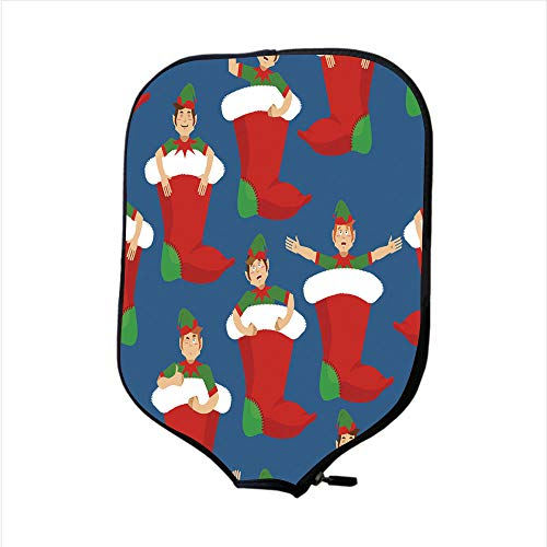 Neoprene Pickleball Paddle Racket Cover Case/Christmas stocking and Santa Elf pattern Little Claus helper ornament traditional Holiday Xmas sock for gifts background/Fit For Most Rackets - Protect You