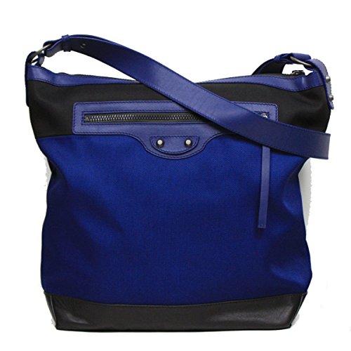 Balenciaga Nylon and Leather Veau Navy Blue Messenger Bag 411536
