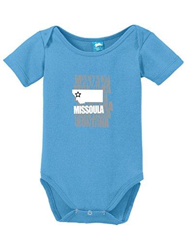 Missoula 1 Light (Missoula Montana Printed Infant Bodysuit Baby Romper Light Blue 0-3)
