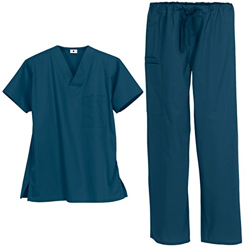 Unisex Medical Uniform Scrub Set – Includes V-Neck Top Drawstring Pant (XS-3X, 13 Colors) (Large, Caribbean Blue) by Strictly Scrubs