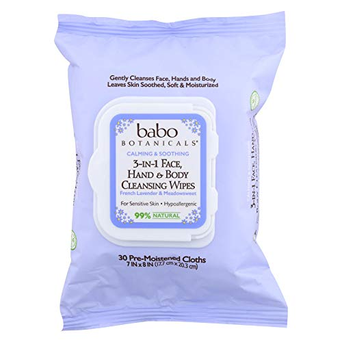 Babo Botanicals French Lavender and Meadowsweet 3 in 1 Calming Wipes, 30 Count per Pack - 4 per case.