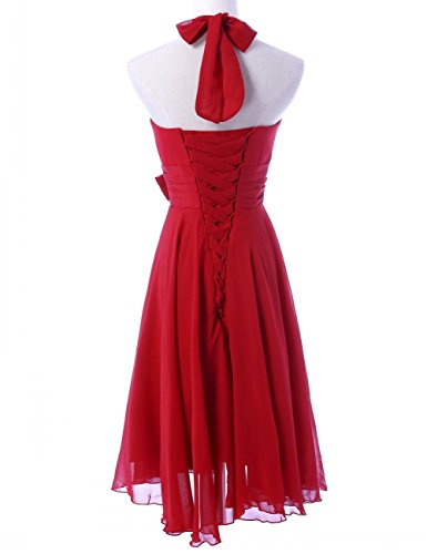 Bridesmaid Mini Chiffon Women's Halter Dresses Red KA Gown Prom Beauty CntqwY11