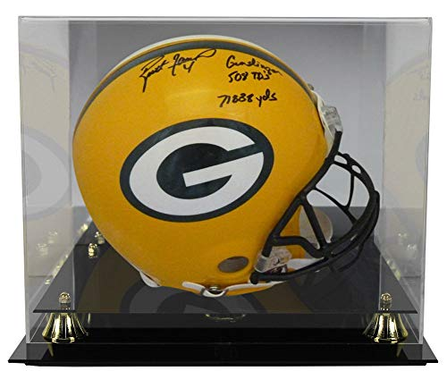 Brett Helmet Favre (Brett Favre Autographed Signed Green Bay Packers Proline Helmet Gunslinger, 508 TD's & 71838 Yards PSA With Deluxe Football Helmet Display Case)