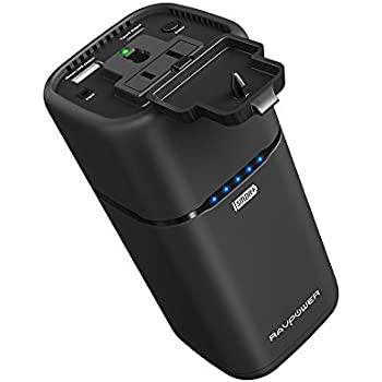 AC Outlet Portable Charger Updated RAVPower 20100mAh 65W(Max.) Built in 2-Prong AC Plug External Battery Pack Travel Charger for MacBook, Surface Pro, Dell XPS 13, iPhone X, Galaxy S8, Note 8, Pixel 2