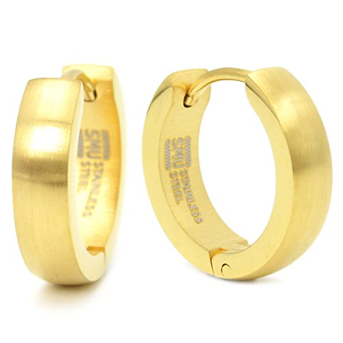 - Stainless Steel Curved Face Round Hoop Earrings Brush Gold 16mm Diameter