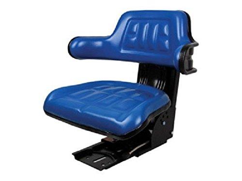 Blue Steel Vinyl Arms - Blue Tractor Seat Base & Slid Track Steel/PVC Backrest & Armrest FORD Seating Farmer Bob's Parts 5100OOBL