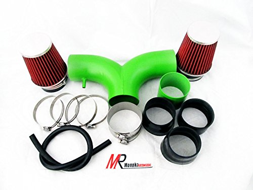 2003 2004 2005 2006 2007 2008 Dodge Ram 1500 All Model with 5.7L V8 HEMI Engine Green Piping Short Ram Dual Air Intake System Kit with red Filter