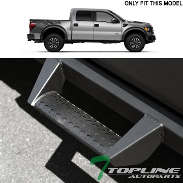Topline Autopart Matte Black Hoop Drop Step Side Nerf Bars Rail Running Boards For 09-14 Ford F150 Super Crew ( Crew ) (Hoop Light Bar)