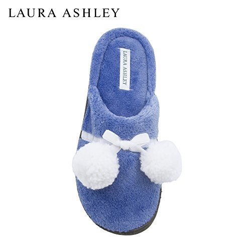 Laura Ashley Ladies Terry Cushioned Open Back Slippers with Pompoms (See More Colors and Sizes) Peri Blossom 0no9gdel