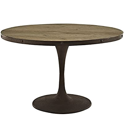 """Modway Drive Round Wood Top Dining Table, 48"""", Brown - Industrial Modern Dining Table Pine Wood Top with Iron Rim Stained But Not Sealed Wood - kitchen-dining-room-furniture, kitchen-dining-room, kitchen-dining-room-tables - 41Sa6BgmmfL. SS400  -"""