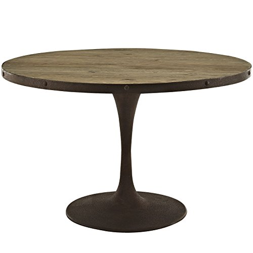Pedestal Table 48in Round Top - Modway Drive Round Wood Top Dining Table, 48