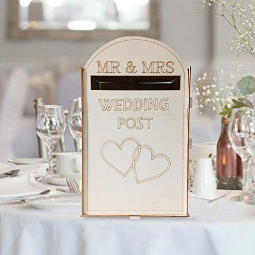 KCPer Solid Pine Fully Assembled Personalised Wedding Card Post Box Royal Mail Style, DIY Rustic Wedding Card Box Card Sign Wooden Gift Card Box Money Box for Reception