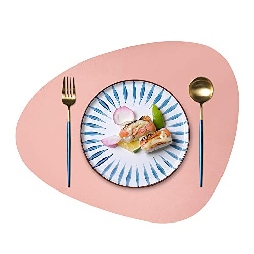 JTX Placemats Round Leather for Dinner Table Mats Heat-Resistant Non-Slip Washable Insulation Coffee Mats Kitchen Place Mats Nordic Style Placemats Set of 2 (Pink, Large)