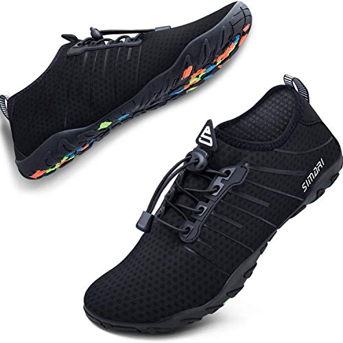 SIMARI Unisex Water Sports Shoes Barefoot Slip-on Indoor Outdoor Sports Activities Summer 208 Black - Non Shoes Slip Boat