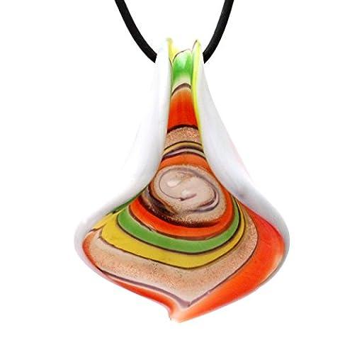 Designer Murano Inspired Glass - yellow, green, orange, white - Curled Bell Pendant Necklace Set - Fashion Interchangeable Jewelry - Hypoallergenic - Gift - Green Murano Glass Pendant