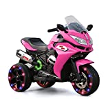 Alison Children Battery Motor Bikes Rechargeable 3 Wheels Ride on Kids Electric Motorcycle with Light Wheels (Pink)