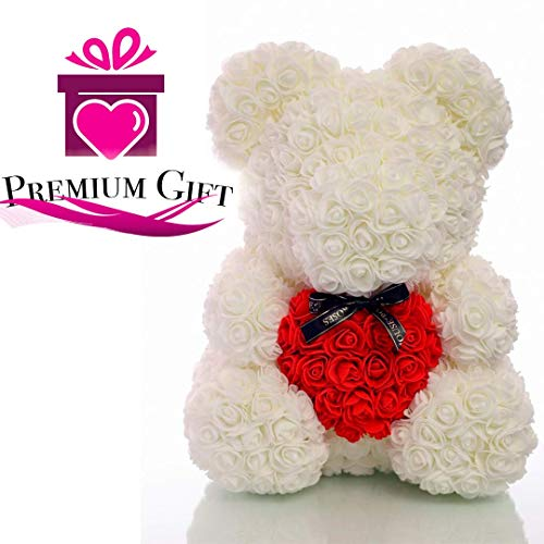 - Rose Teddy Bear with Heart Forever Artificial Rose Anniversary Christmas Valentines Gift 12