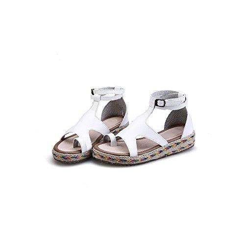 Sandales Blanc Plate OCHENTA Femme Mode Plateforme Cheville 5BqZvRwP